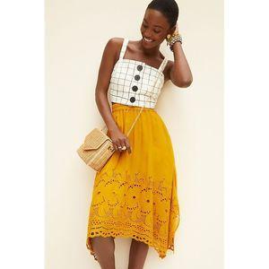 New Anthropologie Rumer Embroidered Midi Skirt